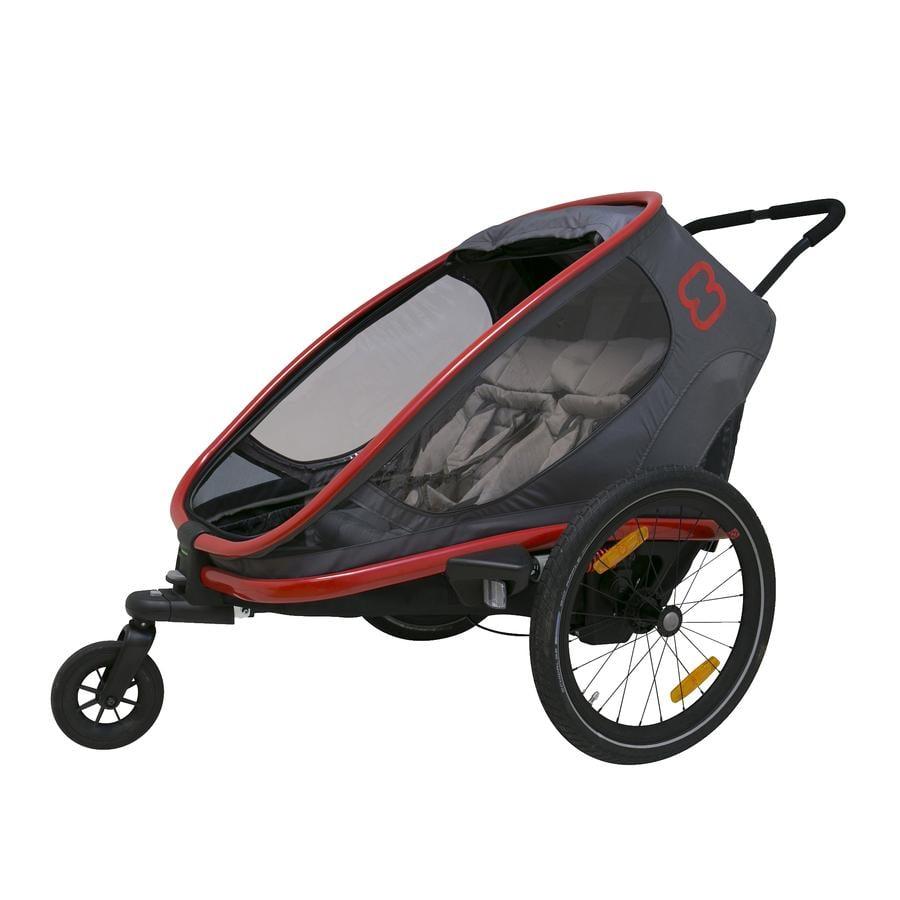hamax Dětský vozík Outback  s nastavením opěrky zad šedý/červený