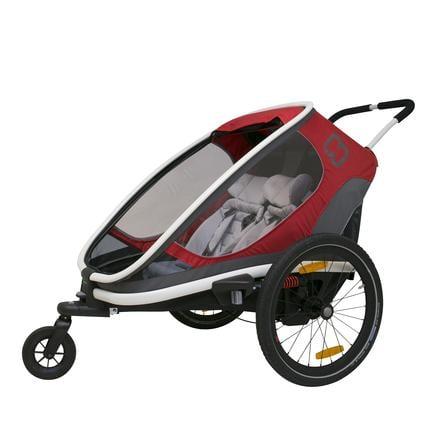 hamax Rimorchio per bici Outback con regolazione dello schienale rosso/grigio/nero