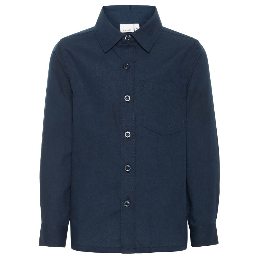 name it Boys Shirt Nmmelia's donker saffier detail: massief
