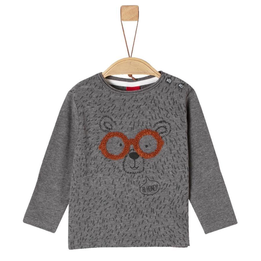 s.Oliver Langermet skjorte for gutter grå melert bjørn