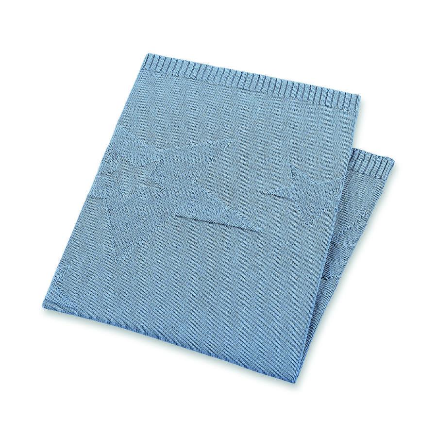 Sterntaler Coussin enfant tricoté Terrybär Baylee bleu 100x75 cm