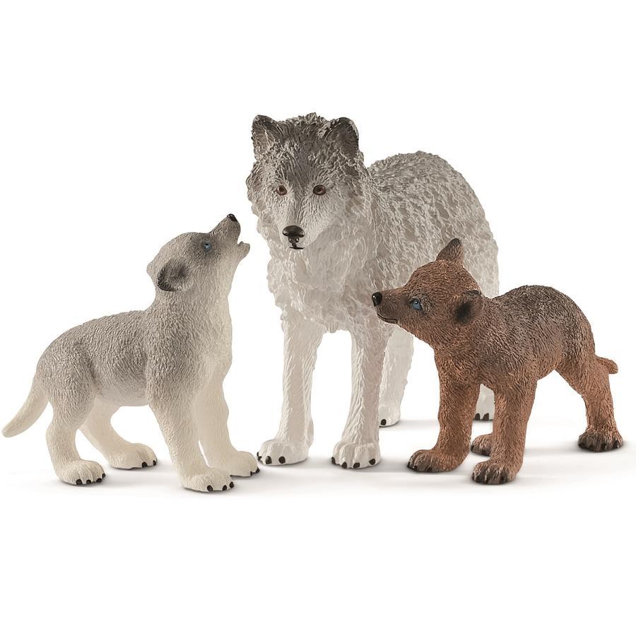 Schleich Wolfsmutter mit Welpen 42472