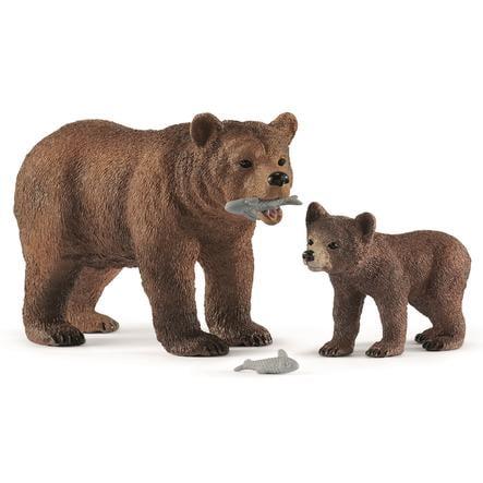 Schleich Grizzlybär-Mutter mit Jungem 42473