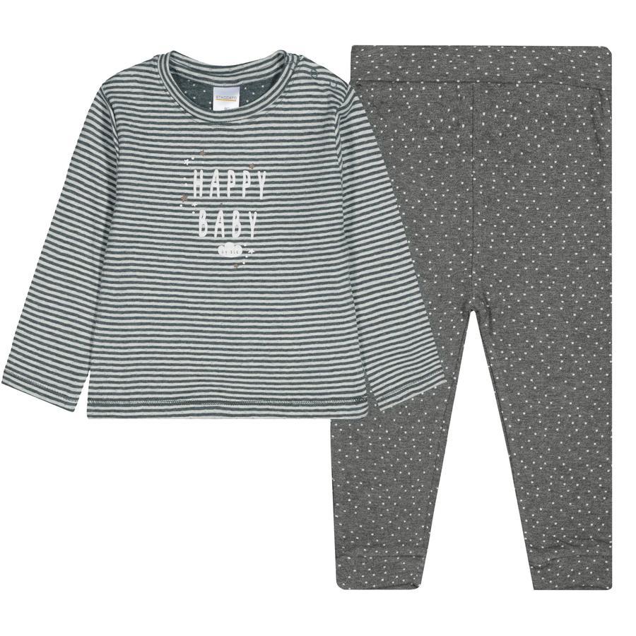 STACCATO Schlafanzug 2-teilig offwhite gestreift und graphit gemustert