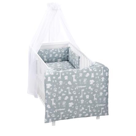 Alvi Parure de lit enfant zoo bleu poudré, 3 pièces 100x135 cm