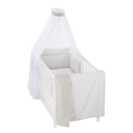 Alvi® Parure de lit enfant carreaux taupe, 3 pièces 100x135 cm