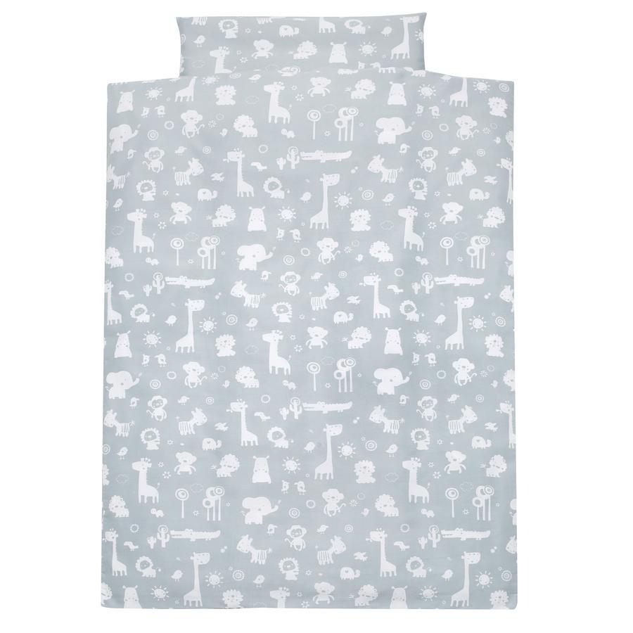 Alvi® Parure de lit enfant zoo bleu poudré, 100x135 cm