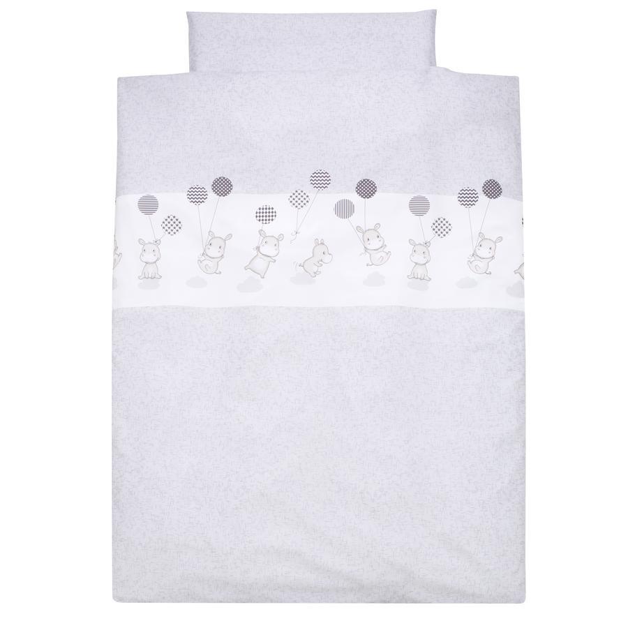 Alvi® Parure de lit enfant hippopotame argent, 100x135 cm