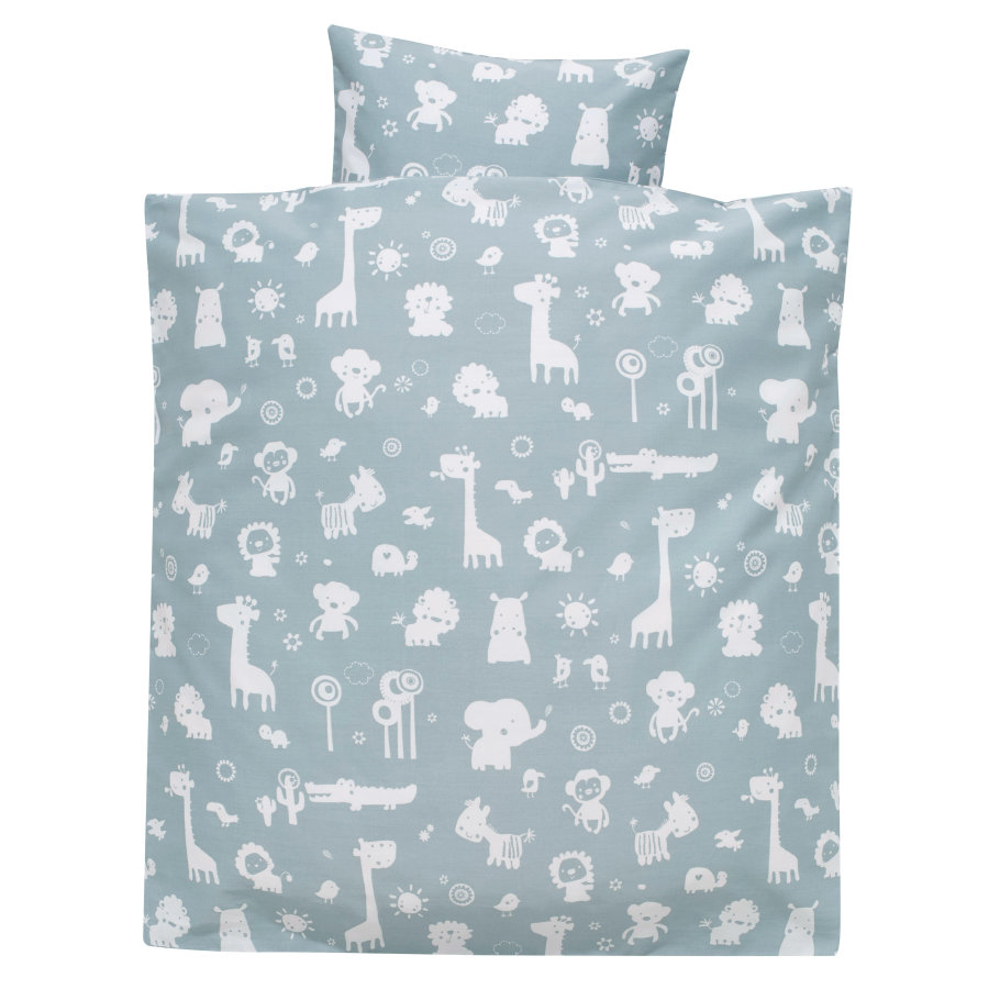 Alvi® Parure de lit enfant zoo bleu poudré, 80x80 cm