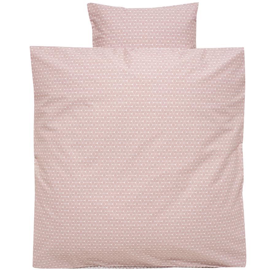 Alvi Parure de lit enfant carreaux rose, 80x80 cm