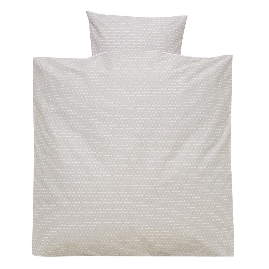 Alvi Parure de lit enfant carreaux taupe, 80x80 cm