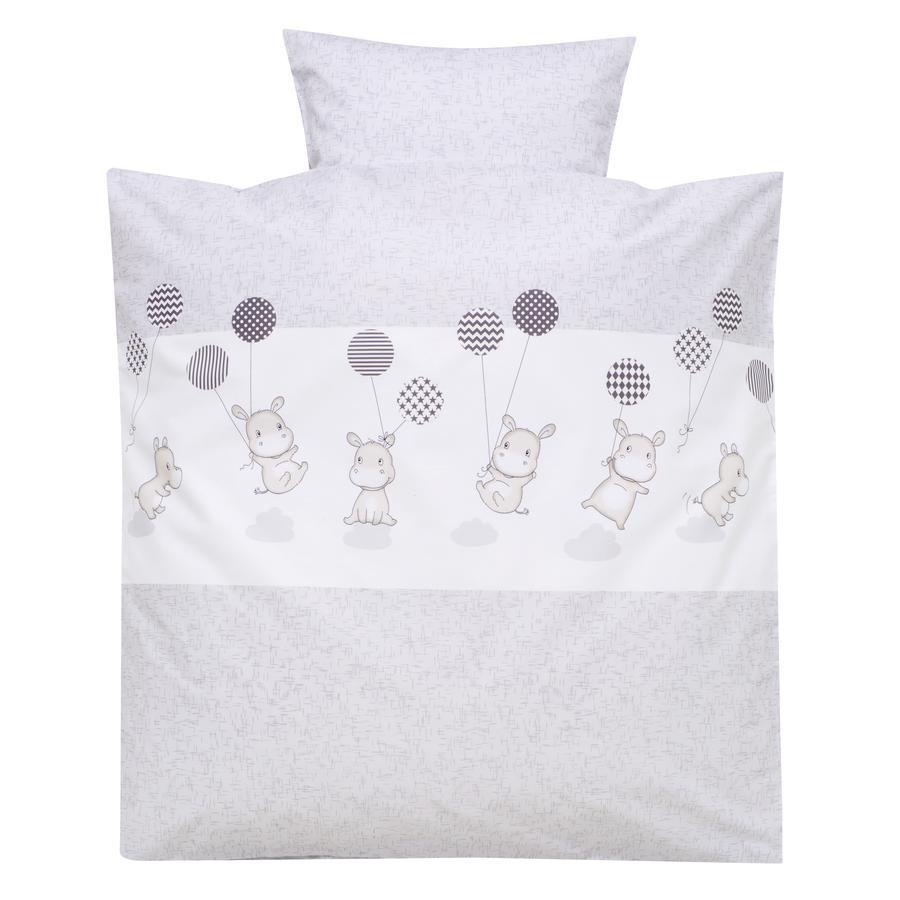 Alvi Parure de lit enfant hippopotame argent, 80x80 cm
