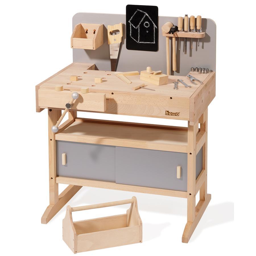 howa® Kinderwerkbank inkl. Werkzeugkiste mit 32 Werkzeugen