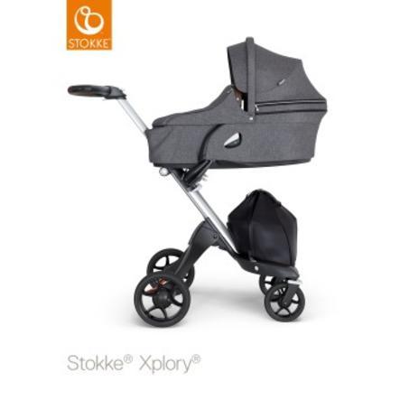 STOKKE® Kinderwagen Xplory® V6 Complett Silver/Brown Black Melange und Einkaufstasche