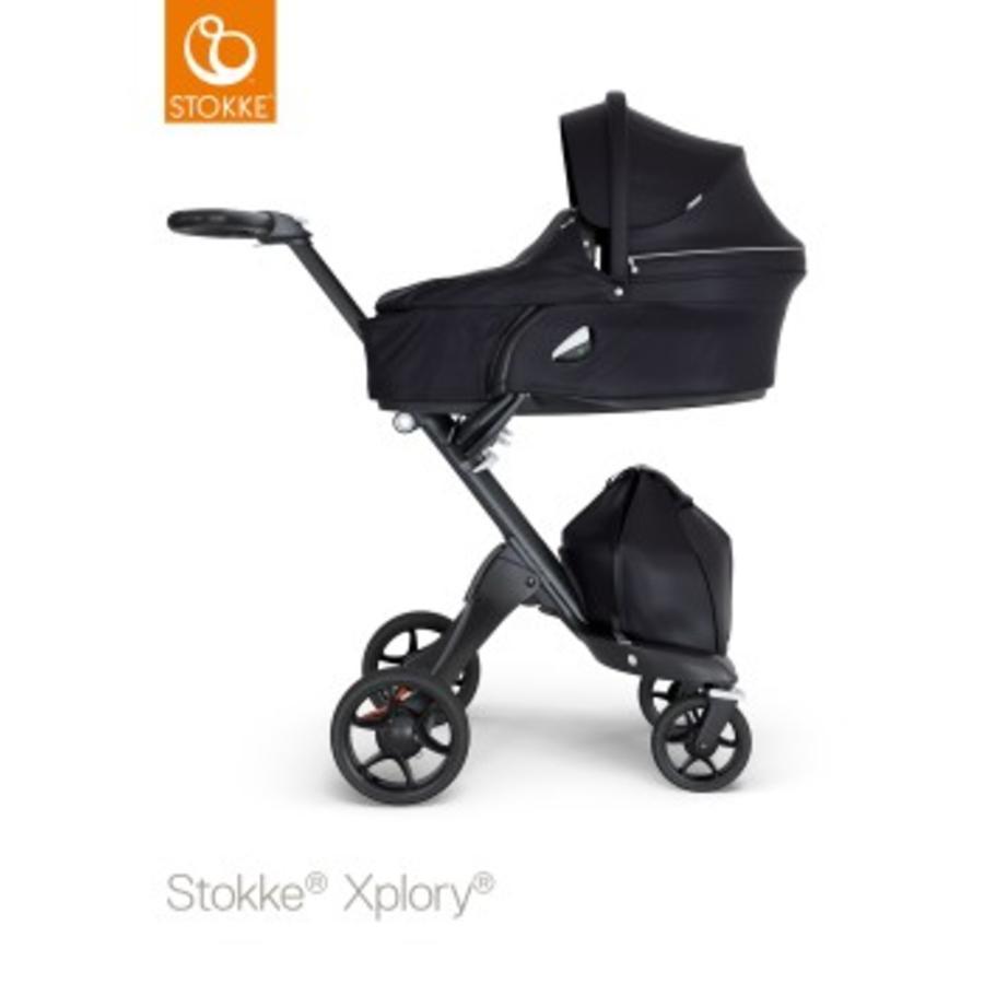 STOKKE® Kinderwagen Xplory® V6 Complett Black/Black Black und Einkaufstasche