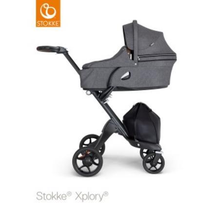 STOKKE® Kinderwagen Xplory® V6 Complett Black/Brown Black Melange und Einkaufstasche