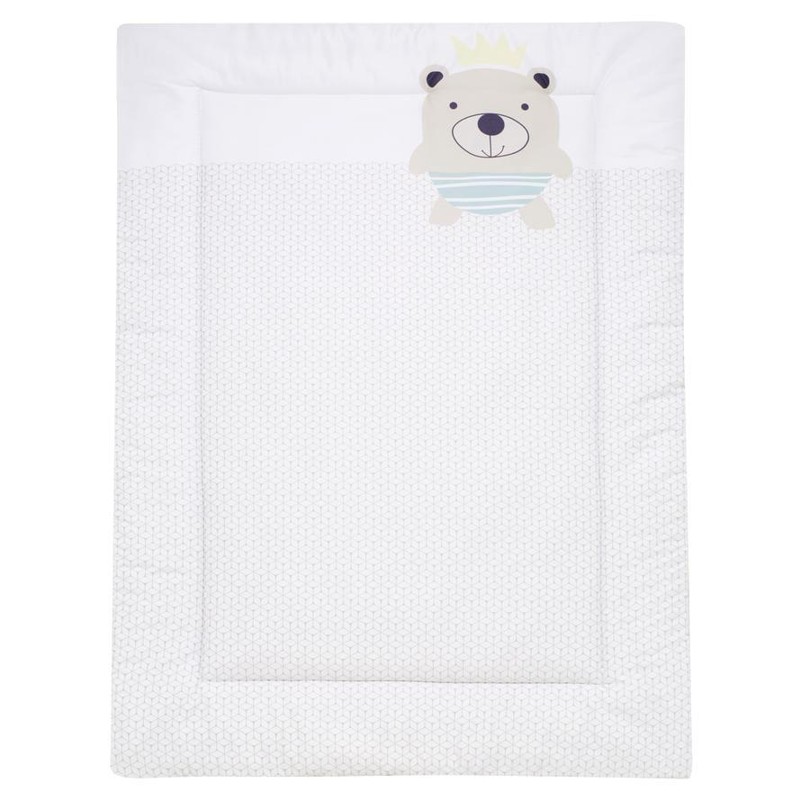 Alvi® Couverture d'éveil teddy carreaux taupe, 100x135 cm