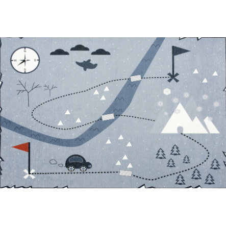 Happy Tapis pour enfants et jeux LIVONE Tapis Rugs Love you Treasure map, bleu, 100 x 160 cm