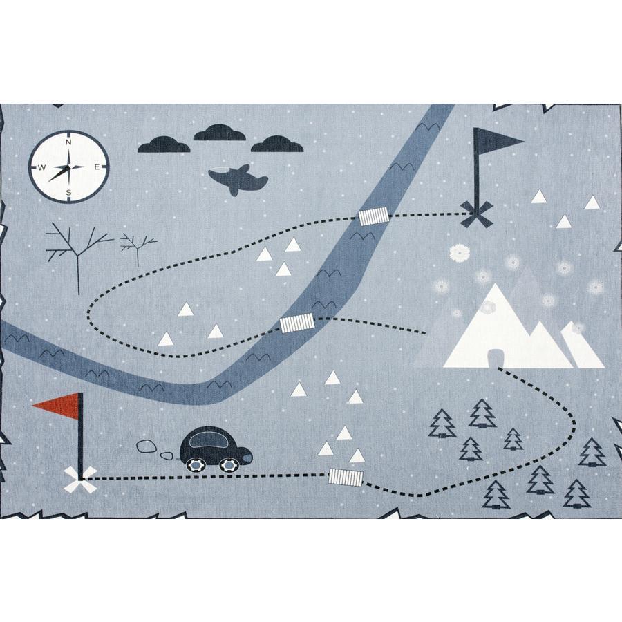LIVONE Happy alfombra de juego y de niños Alfombras Love you treasure map, azul, 100 x 160 cm