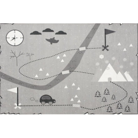 LIVONE play and children's Happy carpet dywan Love you treasure map, grey, 100 x 160 cm