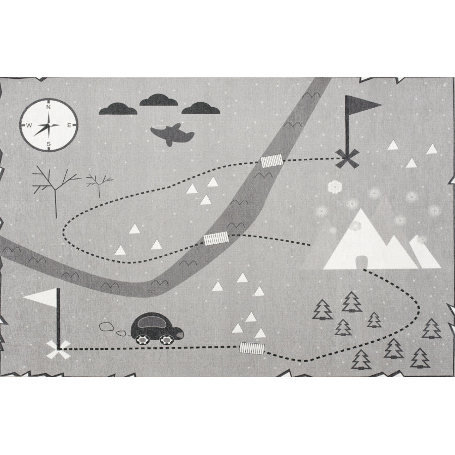 LIVONE Happy alfombra de juego y de niños Alfombras Love you treasure map, gris, 100 x 160 cm