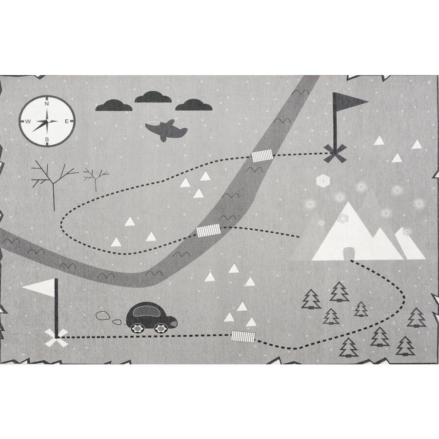 LIVONE Spiel- und Kinderteppich Happy Rugs Love you Schatzkarte, grau, 100 x 160 cm