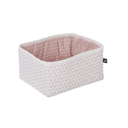 Alví látkový košík vzorovaný růžový