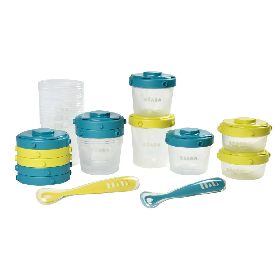 BEABA Contenitore per alimenti, Set 14 pezzi, blu/neon