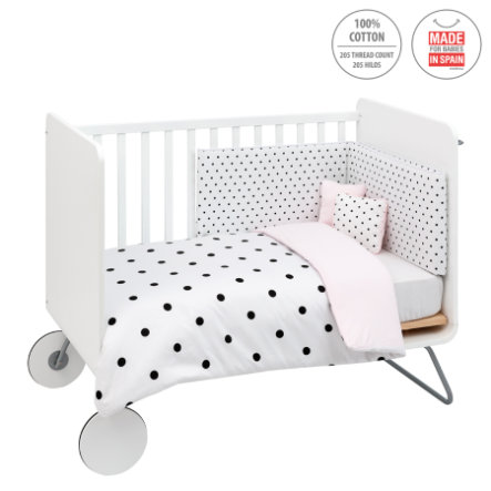 cambrass Set biancheria letto, 4 pezzi, 110x140cm, be dots rosa