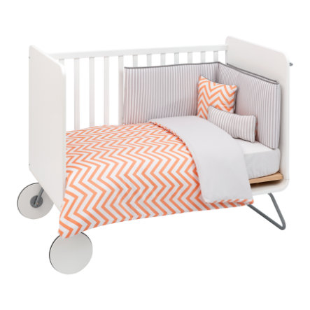 cambrass Set biancheria letto, 4 pezzi, 110x140cm, be Zigzag orange