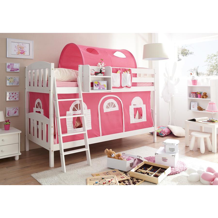 TiCAA Etagenbett Erni Country-V weiß - rosa-weiß