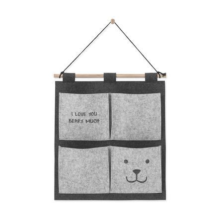 Jollein Wall Organizer Bear 50 x 47 cm šedá