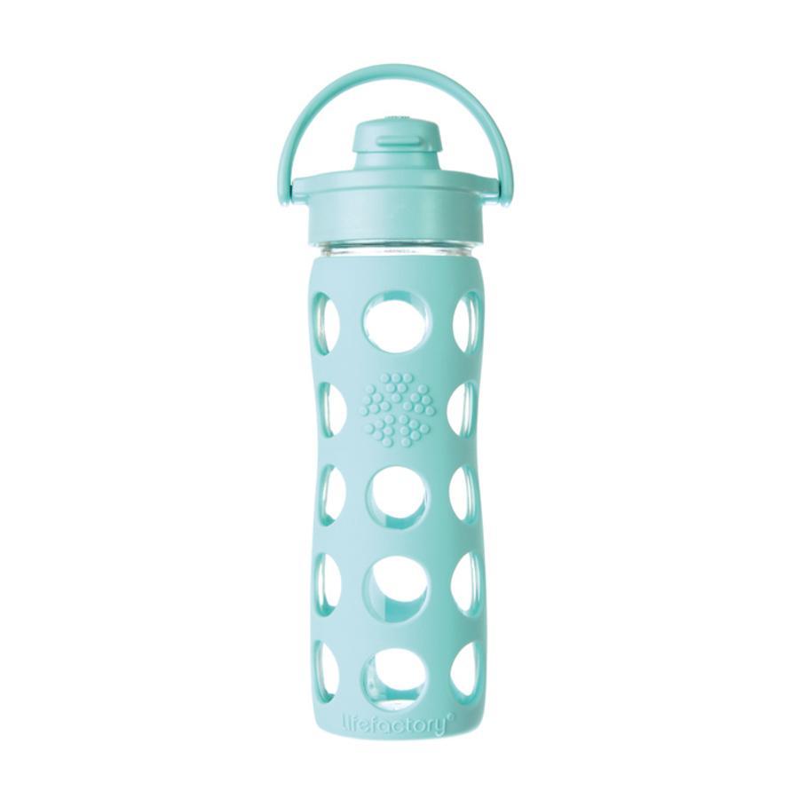 """LIFEFACTORY Glazen Drinkfles """"turquoise"""" met Flip Top Deksel 650ml"""