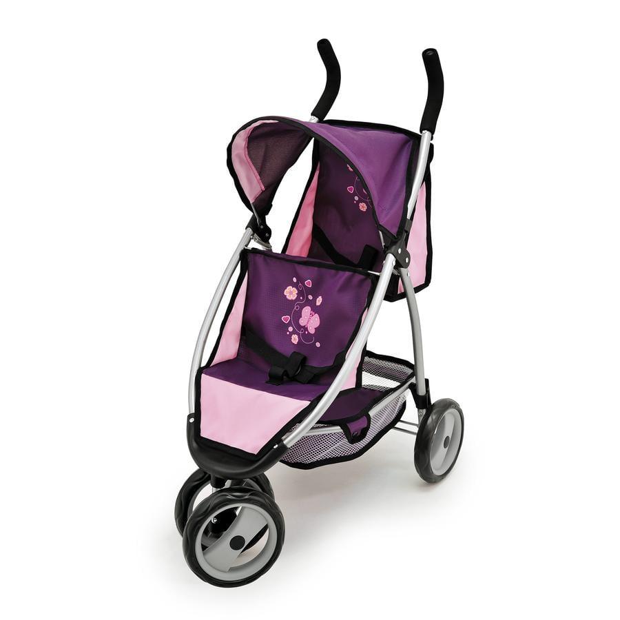 BAYER DESIGN Wózek podwójny dla lalek Twin Jogger kolor fioletowy