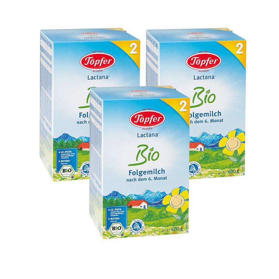 Töpfer Folgemilch Lactana Bio 2 3 x 600 g nach dem 6. Monat