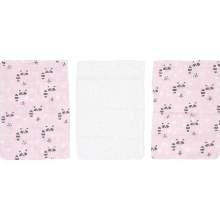 Luma ® Babypleje Bambus vaskehandsker 3-pak Racoon Pink