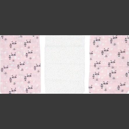 Luma Pielęgnacja dzieci Bambus Pranie Rękawiczki do prania 3-pakiety Racoon Pink
