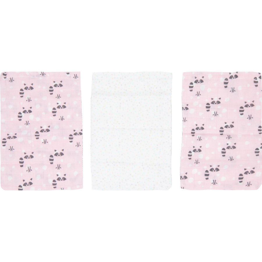Luma ® Babypleie Bambus vaskehansker 3-pakks Racoon Pink