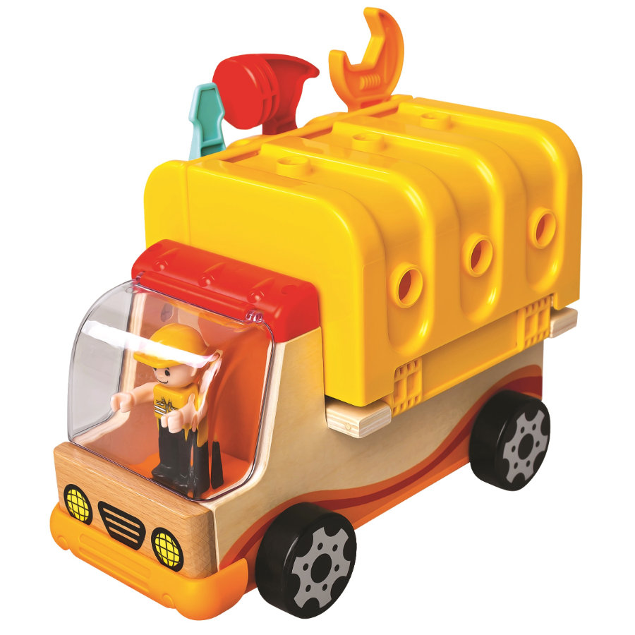 Bino Camion grue jaune bois, outils