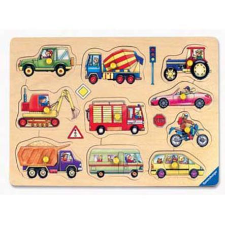 RAVENSBURGER Houten puzzel, voertuigen, 10 delig