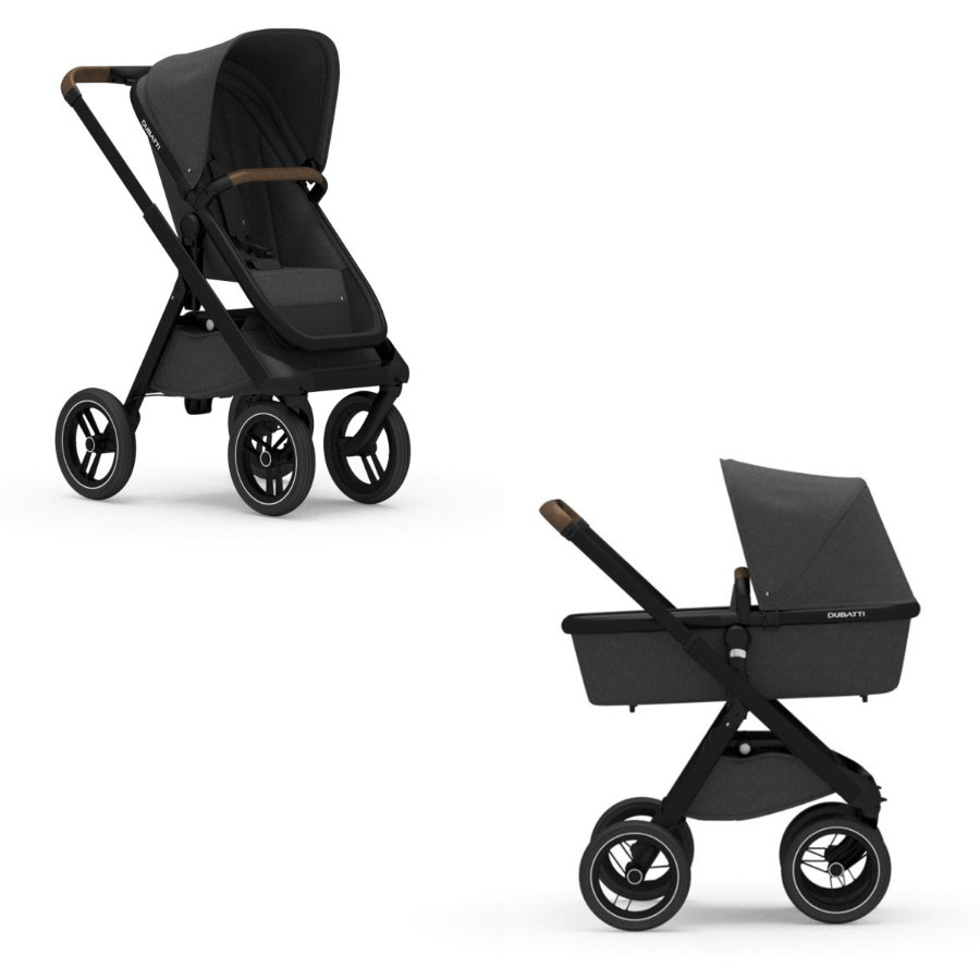 DUBATTI Kinderwagen One Black/Dark Brown/Melange Black