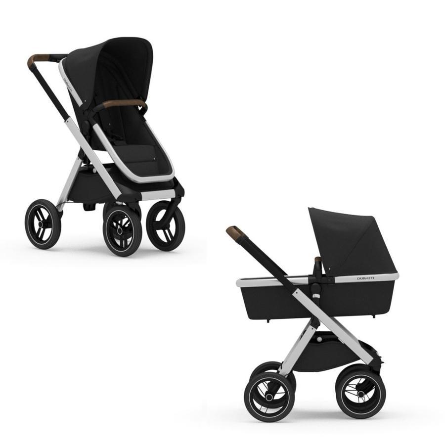 DUBATTI Kinderwagen One Silver/Dark Brown/Black