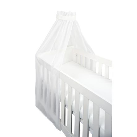 SONNE Ciel de lit enfant uni voile à bande blanc 160x240 cm