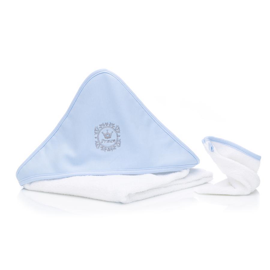 fillikid Boys Badehåndklæde med hætte, sæt, Prins lyseblå