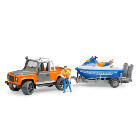 bruder  Pick up terra Rover con rimorchio, Personal Water Craft e autista 02599