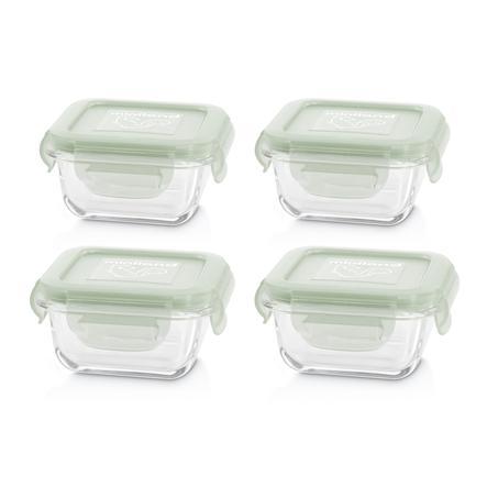 miniland set 4 naturSquare  4-teiliges Set quadratischer  Glasbehälter grün