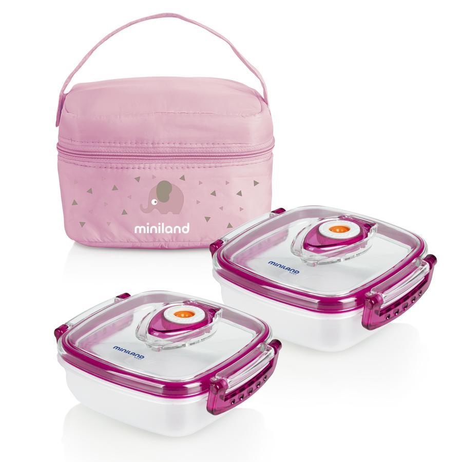 miniland pack-2-go récipient pour aliments hermi fresh avec sac chauffant pink