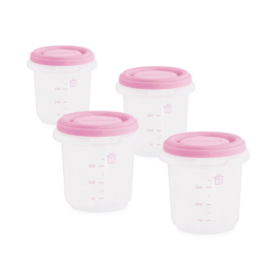 miniland set 4 hermisized storage container pink 250ml