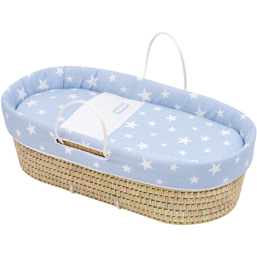 cambrass Couffin bébé Be Universe étoiles bleu ciel osier 44x81 cm