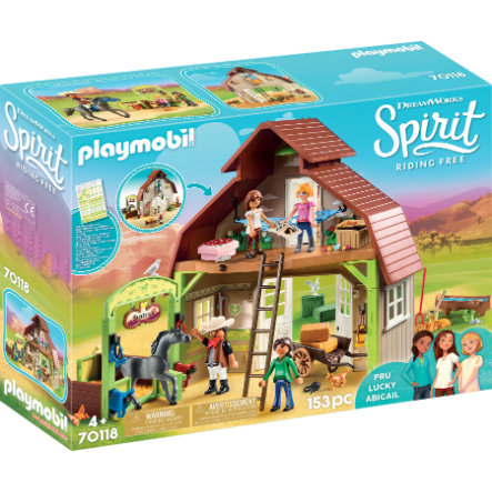 PLAYMOBIL® Spirit Riding Free Stald med Lucky, Pru og Abigail 70118